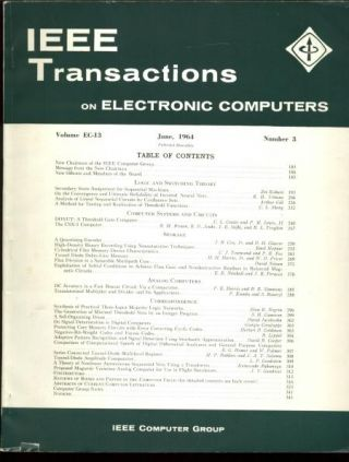 IEEE Transactions on Electronic Computers June 1964, Volume EC-13 number 3; IRE Transactions on Electronic Computers