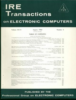 IRE Transactions on Electronic Computers August 1962, Volume EC-11 number 4. IRE Transactions on...