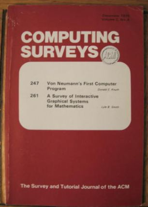 Von Neumann's First Computer Program, in, Computing Surveys volume 2 no. 4, December 1970. Donald Knuth.