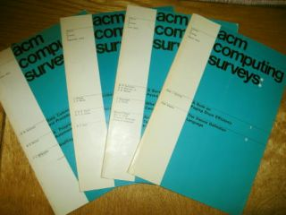 ACM Computing Surveys volume 4 numbers 1, 2, 3, 4, March 1972; June 1972; September 1972; December 1972. Full year 1972, 4 individual separate issues. ACM Computing Surveys.