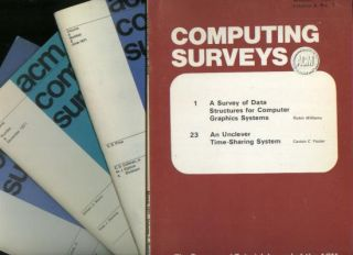 ACM Computing Surveys 1971, volume 3 numbers 1, 2, 3, 4; complete year individual issues, 4 individual issues March 1971, June 1971, September 1971, December 1971. ACM Computing Surveys 1971.