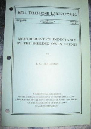 Measurement of Inductance by the Shielded Owen Bridge. J. G. Ferguson.