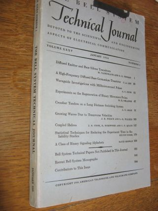 Bell System Technical Journal volume XXXV, number 1, January 1956; volume 30 no. 1. Bell System...