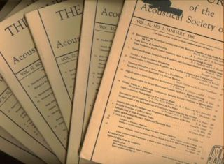 1960 lot of 6 issues The Journal of the Acoustical Society of America, volume 32, January; February; April; May; June; July 1960, 6 issues. Acoustical Society of America.