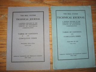 Bell System Technical Journal, Tables of Contents and Cumulative Index, volumes XI-XX, 1932-1941; AND, volumes XXI XXX, 1942 - 1951