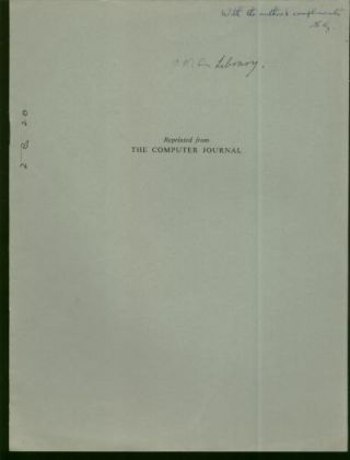 Parallel Programming, separately bound reprint, signed 'with the author's compliments, S.G.', published in The Computer Journal, Vol. 1, No. 1, April 1958, pp. 2-10. Stanley Gill.