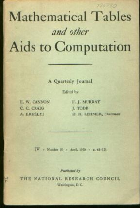 Mathematical Tables and Other Aids to Computation, Volume 4, Number 30, April, 1950
