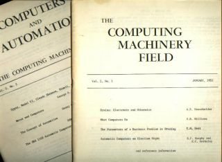 The Computing Machinery Field, volume 2 no. 1 January, 1953; WITH, Computers and Automation -...