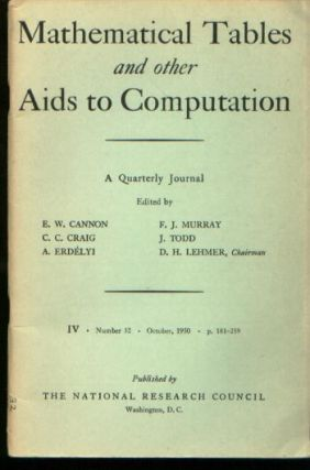 Mathematical Tables and Other Aids to Computation, IV number 32, October 1950. MTAC, Raymond...