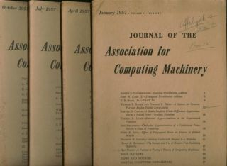 The Logic of Automata, parts I and II, plus more, in, Journal of the Association for Computing Machinery, 4 individual issues, complete year 1957. JACM, Arthur W. Burks, Hao Wang.
