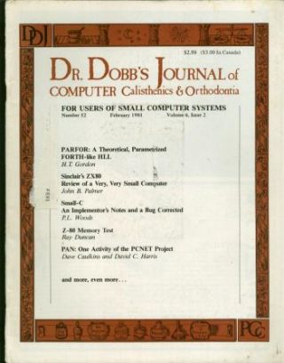 Dr Dobb's Journal, February 1981, Number 52; Volume 6, issue 2. Dr Dobb's Journal, various contributors.