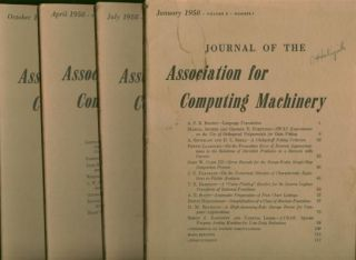 Journal of the Association for Computing Machinery, 4 individual issues, January 1958, April 1958, July 1958, October 1958; whole volume 5, numbers 1 through 4
