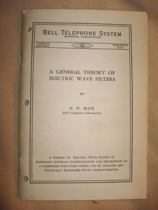 A General Theory of Electric Wave Filters, Bell Telephone System Monograph B-843, Telephone Equipment, no date circa 1934