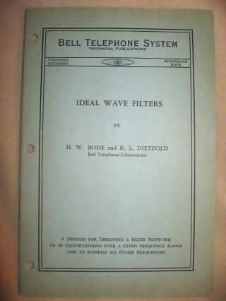Ideal Wave Filters, Bell Telephone System technical publications, Monograph B-856, no date, circa 1935; front cover states, Telephone Equipment, in place where date usually is