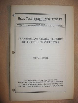 Transmission Characteristics of Electric Wave-Filters, Bell Telephone Laboratories Reprint B-103-1, January 1925. Otto J. Zobel.
