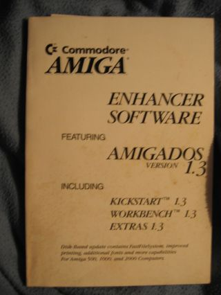Enhancer Software featuring AmigaDOS version 1.3 including Kickstart 1.3; workbench 1.3; Extras 1.3 MANUAL ONLY NO DISKS. Commodore Amiga.