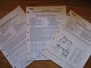 3 booklets, 2 marked Preliminary; 8-Bit HMOS Microprocessor; 8031/8051/8751 SIngle-Component 8-Bit Microcomputer; 8748/8748-6/-8/8035 Single Component 8-Bit Microcomputer