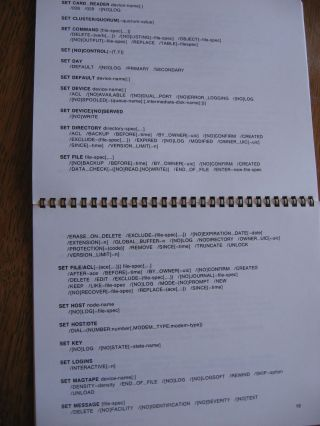 VAX/VMS DCL Commands and Lexical Functions, flip-page comb-bound small cardstock manual, 1984