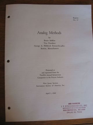 Analog Methods - reprint no. 27, Presented at and reprinted from the Twelfth Annual Symposium Computors (computers) in the Process industry, April 1960