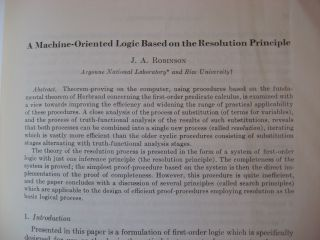 A Machine-Oriented Logic Based on the Resolution Principle, in, Journal of the ACM January 1965
