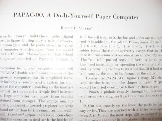 PAPAC-00, A Do-It-Yourself Paper Computer, in, Communications of the ACM, September 1959