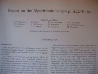 Report on the Algorithmic Language ALGOL 60, May 1960; PLUS Revised Report January 1960, in 2 issues of Communications of the ACM