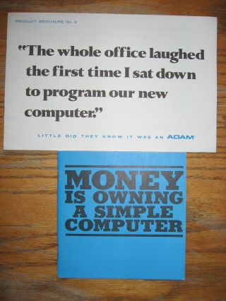 2 advertising brochures for ADAM computers, manufactured by Logical Machine Corporation (LOMAC)....