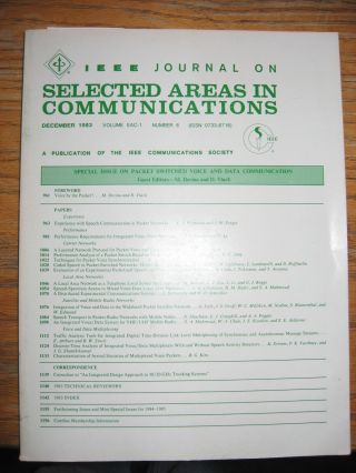 IEEE Journal on Selected Areas in Communications, Volume SAC-1 no. 6, December 1983 - Special...