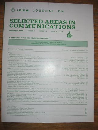 Journal on Selected Areas in Communications, February 1988, volume 6, number 2 -- Special Issue...