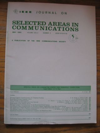 IEEE Journal on Selected Areas in Communications, May 1985, volume SAC-3 number 3 -- Special Issue on Communications for Personal Computers. IEEE var.