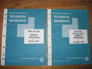 Data Set 103A Interface Specification february 1967; AND, Data Sets 402C and 402D Interface Specification, november 1964. Bell System Data Communications Technical Reference.