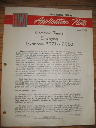 Electronic Timers Employing Thyratrons 2D21 or 2050, AN-131, March 1, 1948. Electron Tubes RCA...