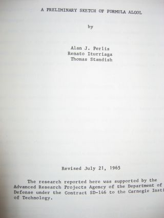 A Preliminary Sketch of Formula Algol (2 copies -- one, April 9, 1965; second, Revised July 21, 1965)