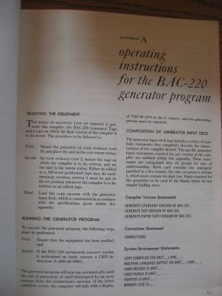 Burroughs Algebraic Compiler, revised edition 1963; BAC-220