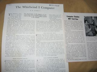 The Whirlwind I Computer, disbound article from, Electrical Engineering magazine, August 1952,...