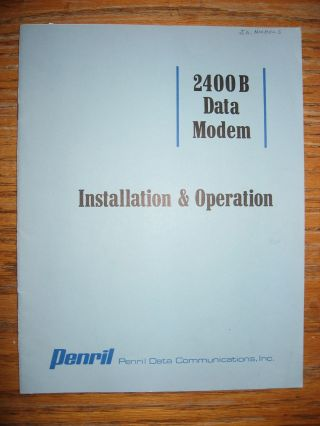 2400B Data Modem installation & operation manual/brochure. Inc Penril Data Communications