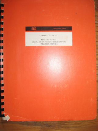 Theory Manual - Magnetic Ink Character Recognition (MICR) Reader System 1962