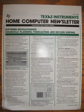 Home Computer Newsletter, TI Texas Instruments, July 1983. Texas Instruments