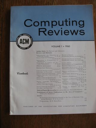 Computing Reviews volume 1 1960 (complete in one issue). ACM