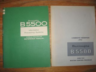 Lot of 2 Burroughs B5500 items -- 1) B5500 Information Processing System Stream Procedure...