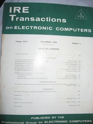 IRE Transactions on Electronic Computers, December 1956, volume EC-5 number 4. IRE Transactions on Electronic Computers.