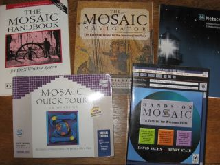 5 (Five) Mosaic and Navigator (Netscape) books, some with disks. see list various.