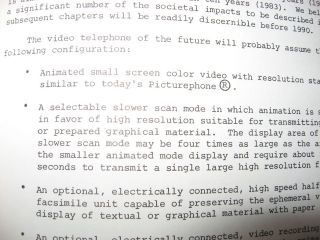 The Video Telephone -- impact of a new era in telecommunications, a preliminary technology assessment, 1974