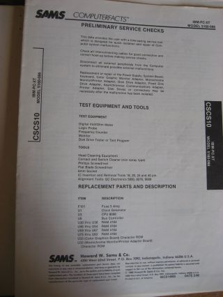 Computerfacts technical service data, IBM PC-XT Model 5160-086 Computer