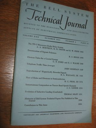 Bell System Technical Journal vollume XXX, number 4, October 1951, Part II. var BSTJ.