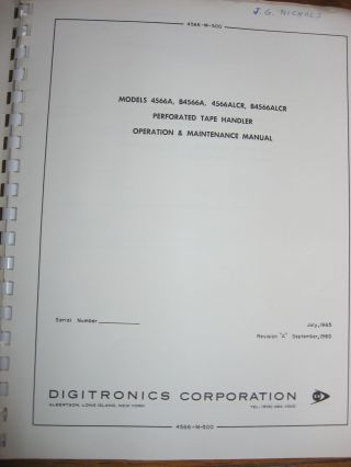 Operation and Maintenance Manual, models 4566A, B4566A, 4566ALCR, B4566ALLCR