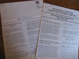 2 newsletters, January-February 1985, and June-July 1985 (Philadelphia Branch) one announcing Microdata/McDonnell Douglas. Microdata, McDonnell Douglas Computer Systems Company and.