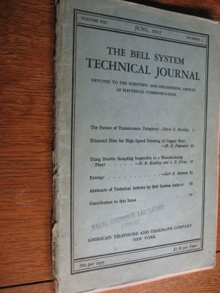 Bell System Technical Journal volume XXI no. 1 June 1942 , complete separate issue. Bell System...