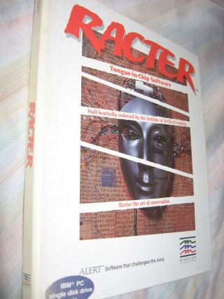 Racter -- tongue-in-chip software (NOTE - binder, booklet etc. ONLY - No Disk). Thomas Etter,...