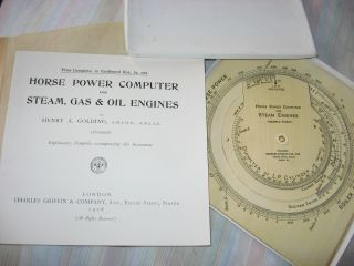 Horse Power Computer for Steam, Gas & Oil Engines, explanatory booklet plus cardboard computer in...
